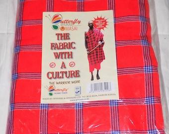 Tribal 100% Acrylic Masai Maasai Shuka Blanket / Bedspread / Throw over Picnic Mat