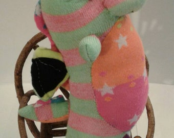 Colorful sock dragon plushie