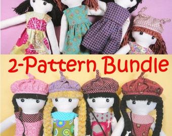 2 pattern bundle - Cloth doll rag doll pdf patterns - JENNY & LISA