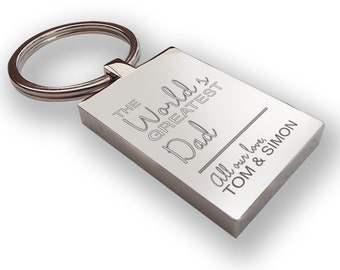 Personalised engraved world's greatest DAD DADDY keyring gift, chunky rectangle keyring - WG1