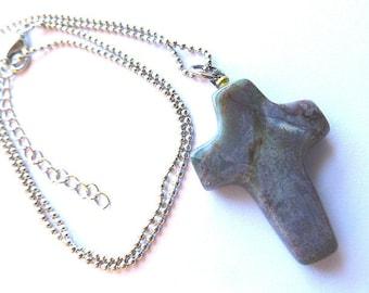 Vintage JASPER STONE Cross, Jasper Cross & Silver Ball Neck Chain, Mens Boho Gray Jasper Cross, Mens Cross and Neck Chain, Cross Necklace