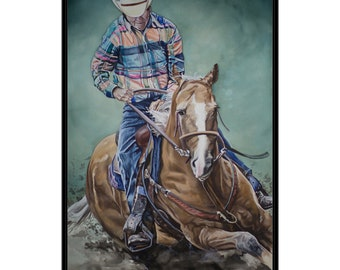 ART PRINT - FREE shipping- Watercolor Painting of Cowboy Riding a Horse