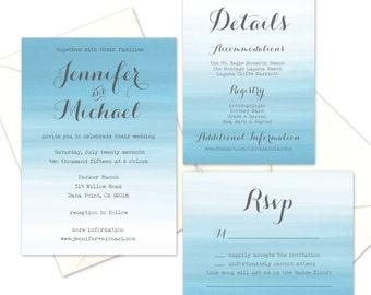 Wedding Invitation Sample- Blue Watercolor Suite