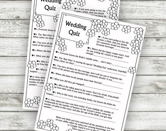 Wedding Game - Table Quiz - DOWNLOAD INSTANTLY!