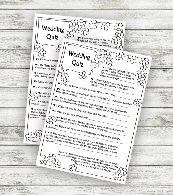 Wedding game table quiz download instantly m4hsunfo