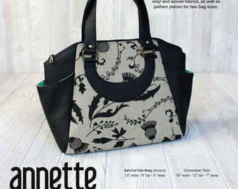 Swoon Patterns: Annette Satchel Handbag & Commuter Tote - PDF Travel Bag Large Crossbody Purse Tote Handbag Sewing Pattern