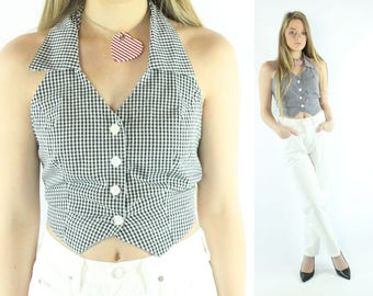 90s Halter Crop Top Sleeveless Blouse Button Up Shirt Black White Checked Vintage 1990s Small S Moda Intl
