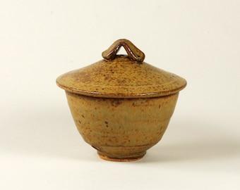 Ash glazed ceramic sugar bowl