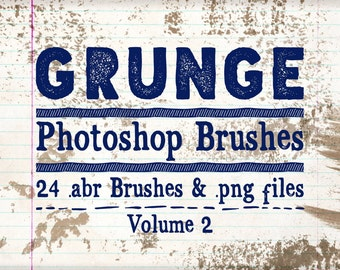 Grunge Photoshop Brushes Clip art & Digital Stamps - 24 Grunge Brushes Vol 2 - Grunge clipart, Distressing Brushes