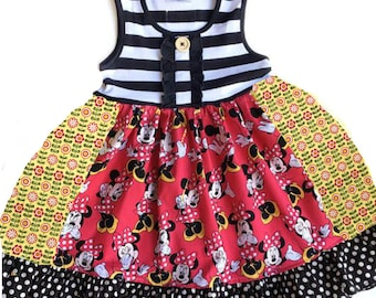 Minnie Mouse Disney dress Pink Momi girls boutique clothing custom