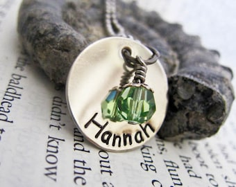 Custom Stamped Name Necklace with Custom Swarovski Crystal Birthstone Charm - One Single Disc