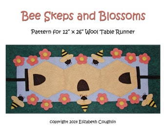 PDF pattern for a 12 x 26 inch WoolFelt table runner: Bee Skeps and Blossoms