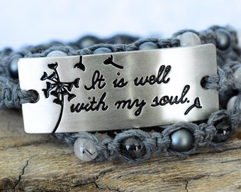 It is Well With My Soul Beaded Wrap Bracelet, Hemp Wrap Bracelet, Quartz Wrap Bracelet, Pendant Wrap Bracelet, Inspirational Quote Bracelet