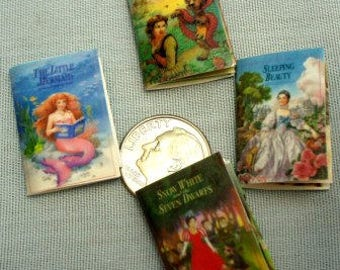 Set of Miniature Disney Story Books with Printed Pages