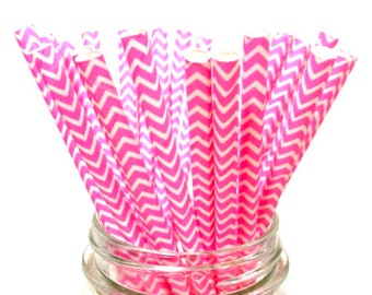 25 HOT Pink Chevron paper straws // baby bridal shower decorations // candy dessert buffet table // wedding // First birthday/new year party