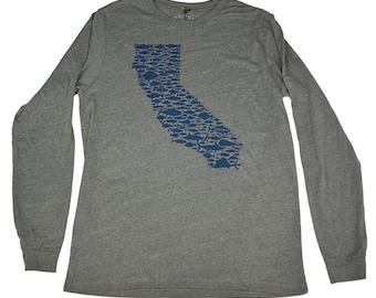 CALIFORNIA FISH LOVE - Heather Grey - Long Sleeve Tee - Salmon - Bill Fish - Sea Bass - Trout - Rock Fish - Tuna - Golden State - by uroko