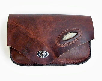 Leather clutch. Buffalo hide purse, Bison leather bag, Stone inlay, agate slice, oil tanned leather