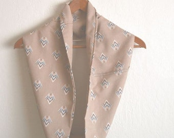 Infinity Scarf Cotton Cowl Vintage Eco Friendly Fabric Beige Tan One Of A Kind