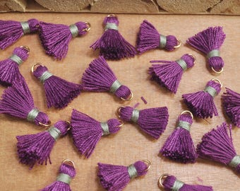 20pcs 15mm Mini Tassels,dark purple,Short Boho tassels,earring,Small tassels Fringe Trim,DIY Craft Supplies,Jewelry tassels - FH22