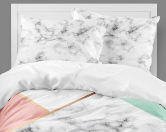 Marble Bedding, Dorm Bedding, Teen Girls Room, Twin XL Comforter, Luxe Girls Room, Bedding Set, Coral and Mint, Gold, Black and White, Full