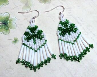 Seed Bead Shamrock Earrings, St. Patrick's Day Earrings, Shamrock Earrings, Celtic Earrings, Irish Earrings, Shamrock Jewelry, Beaded