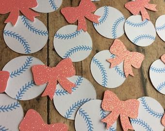 Baseballs or Bows Gender Reveal / Baseballs or Bows Confetti / Gender Reveal Confetti / Baby Shower Confetti / Baseballs or Bows Baby Shower