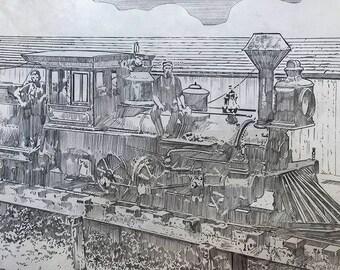 Locomotive, Oak Bluffs, MA 1874 Original Graphite Drawing