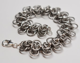 Sterling silver & titanium honeybee chainmaille bracelet