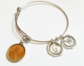 50th Anniversary gift 1968 US Penny Bracelet Expandable Bangle with initial charm Coin Jewelry