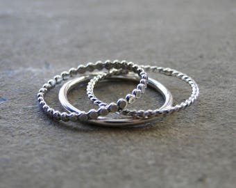 Sterling Silver Stacking Ring Set, Stacking Set, Stacking Rings, Stacker Set, Sterling Silver Rings, Made to Order, Silver Stacking Rings
