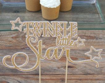 CLEARANCE. SILVER Twinkle Twinkle Little Star Cake Topper.