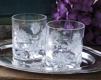 Vintage Brillant coupe coupes cristal Double ancien démodé lunettes Set de 2 Starburst empreinte Design verrerie whisky verres à boisson