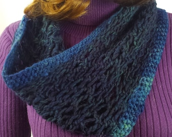 B113 hand-knitted lacy blue wool scarf, continuous loop
