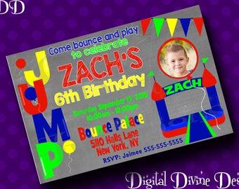Jump Bouncy House Birthday Custom Digital Invitation