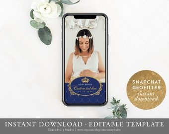 Prince Royal Blue Snapchat Filter | Editable Geofilter | Royal Baby Shower, First Birthday, Gold, Navy, Glitter, Party | DC032
