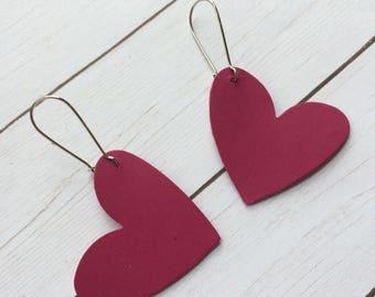 Heart earrings, dark pink heart earrings, Valentine earrings, leather heart earrings