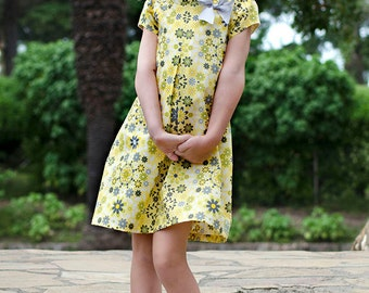 PDF couture patron robe de Laura et tunique - 12 mois à 10 ans - collier 2 options, Peter Pan et roulé col, des manches courtes bouffantes-haut