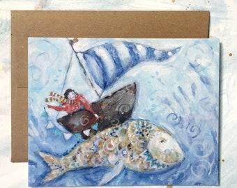 Boy and Sunfish   Greeting Card