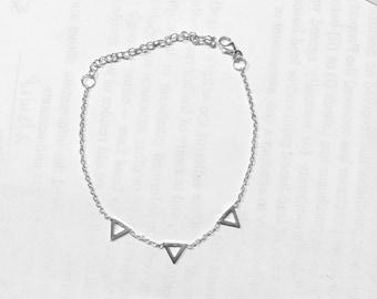 Triangle bracelet Silver 925 - geometric jewelry, sterling silver 925/000 - Geometric Triangle 925 silver bangle Bracelet triangle