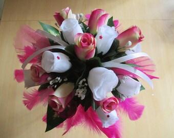 Round bridal bouquet, fuchsia and white