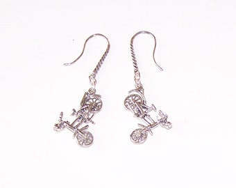 Sterling Silver 3D BICYCLE Earrings - Moveable - Sports