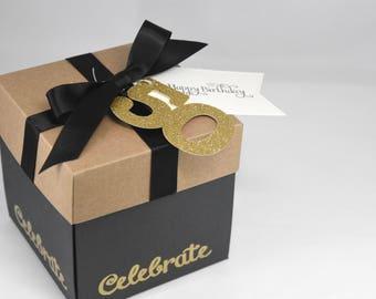3D Birthday Card, Explosion Box Card with Tea Light and Optional Age Tag
