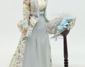 MINIATURE DOLLHOUSE Silk and Cotton Ladies Dress Suit and Matching Hat