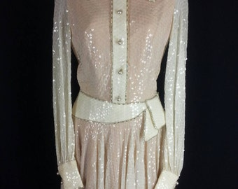 Vtg William TRAVILLA sequin covered cocktail party dress size 8 chest 34in.