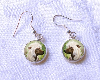 Chinese Crested Drop Earrings ~ April Birthday ~ Dog Paintings ~ Chinese Crested Earrings ~ Gifts for Her ~ Dog Painting