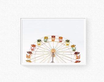 Ferris Wheel print, ferris wheel photo, nursery wall art, ferris wheel wall art, carnival print, colorful wall art, retro poster, landscape