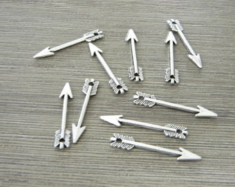 Arrow Charms Set of 10 Silver Color 29x4mm