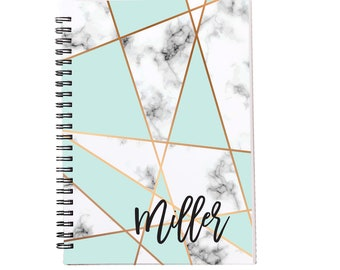 Mint Marble Personalized Spiral Notebook, Journals for Women & Girls, Custom Notebooks, Lined Spiral Notebooks