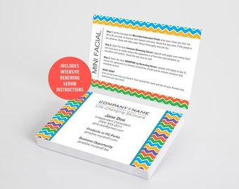 Rodan and Fields Business Cards, Mini Facial Card, Rodan Business Card, Instructions, Marketing, Branding, Printable, Digital