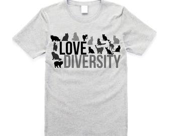 Cat - Love Diversity Plus Size Shirt, Cat Lover, Diversity, Cat Breeds, Animal Lover, Love, Cat, Gift for Him, Gift for Cat Lover, Cat Man